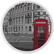 Isolated Phone Box Round Beach Towel by Terri Waters