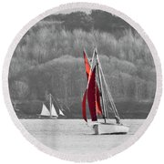 Isolated Yacht Carrick Roads Round Beach Towel