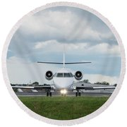 Round Beach Towel featuring the photograph Israel Aircraft Industries Galaxy 1 by Guy Whiteley