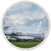 Round Beach Towel featuring the photograph Israel Aircraft Industries Galaxy 2 by Guy Whiteley