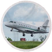 Round Beach Towel featuring the photograph Israel Aircraft Industries Galaxy 3 by Guy Whiteley