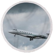 Round Beach Towel featuring the photograph Israel Aircraft Industries Galaxy 4 by Guy Whiteley