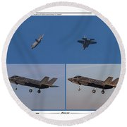 Round Beach Towel featuring the digital art Israeli Air Force First Two F-35i Adir by Amos Dor