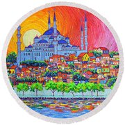Istanbul Blue Mosque Sunset Modern Impressionist Palette Knife Oil Painting By Ana Maria Edulescu    Round Beach Towel