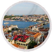 Istanbul Cityscape Round Beach Towel