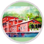 Round Beach Towel featuring the painting Istanbul Hekimbasi Salih Efendi 2 by Carlin Blahnik CarlinArtWatercolor