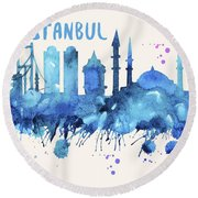 Istanbul Skyline Watercolor Poster - Cityscape Painting Artwork Round Beach Towel