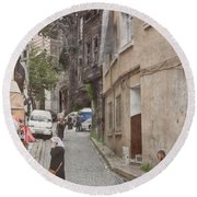 Round Beach Towel featuring the photograph Istanbul, Turkey - The Phone Call by Mark Forte