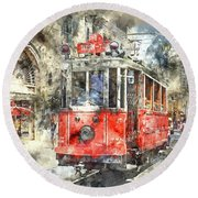 Istanbul Turkey Red Trolley Digital Watercolor On Photograph Round Beach Towel