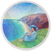 Round Beach Towel featuring the painting It Could Be Me by Elizabeth Lock