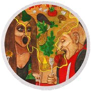It Happened In A Restaurant Round Beach Towel by Don Pedro De Gracia