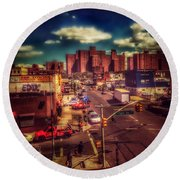 Round Beach Towel featuring the photograph It Takes A Village - New York Street Scene by Miriam Danar