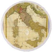 Italia Antique 1790 Italy  Map Round Beach Towel