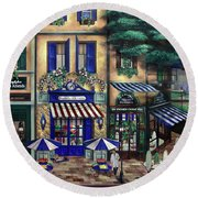 Italian Cafe Round Beach Towel