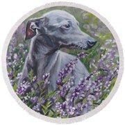 Italian Greyhound In Flowers Round Beach Towel