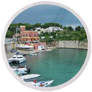 Italian Harbor - Puglia Round Beach Towel