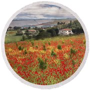 Italian Poppy Field Round Beach Towel