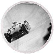 Italian Racing Driver Nino Farina Driving His Ferrari At Monza  Round Beach Towel
