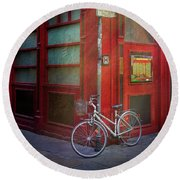 Round Beach Towel featuring the photograph Italian Restaurant Bicycle by Craig J Satterlee