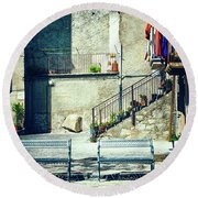 Round Beach Towel featuring the photograph Italian Square With Benches by Silvia Ganora