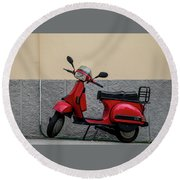 Round Beach Towel featuring the photograph Italian Transportation by Jean Haynes