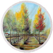 Round Beach Towel featuring the painting Italian Tree Farm by Jodie Marie Anne Richardson Traugott          aka jm-ART