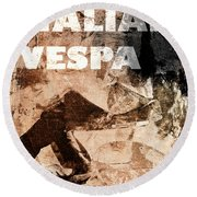 Italian Vespa Round Beach Towel