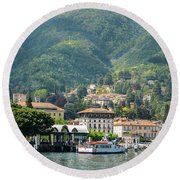 Italian Village On Lake Como Round Beach Towel