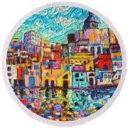 Italy Procida Island Marina Corricella Naples Bay Palette Knife Oil Painting By Ana Maria Edulescu Round Beach Towel