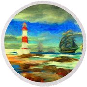 Itapua Lighthouse 1 Round Beach Towel