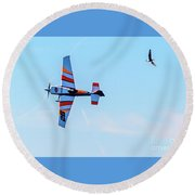 It's A Bird And A Plane, Red Bull Air Show, Rovinj, Croatia Round Beach Towel