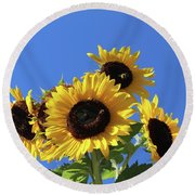 It's A Blue Sky Day Round Beach Towel