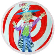 It's A Mad, Mad, Mad, Mad Tea Party -- Humorous Mad Hatter Portrait Round Beach Towel