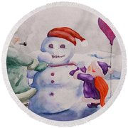 It's Cold Grandpa Round Beach Towel