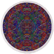 Round Beach Towel featuring the digital art It's Complicated 2017 by Kathryn Strick
