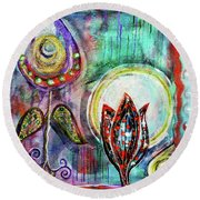 Round Beach Towel featuring the mixed media It's Connected To The Moon by Mimulux patricia no No