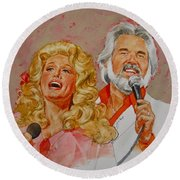 Its Country - 8  Dolly Parton Kenny Rogers Round Beach Towel