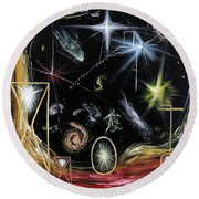 Round Beach Towel featuring the painting It's Full Of Stars  by Ryan Demaree