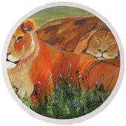Round Beach Towel featuring the painting It's Good To Be King by Jamie Frier