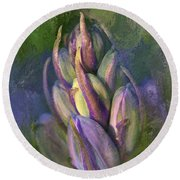 Round Beach Towel featuring the digital art Itty Bitty Baby Bluebells by Lois Bryan
