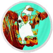 Turquoise Cow Round Beach Towel