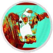 Turquoise Cow Round Beach Towel