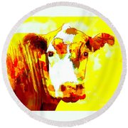 Yellow Cow Round Beach Towel