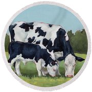 Ivory And Calf Mini Painting  Round Beach Towel