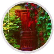 Ivy Surrounded Old Outhouse Round Beach Towel