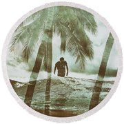 Izzy Jive And Palms Round Beach Towel