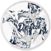 J D Martinez Detroit Tigers Pixel Art 2 Round Beach Towel