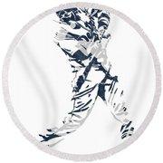 J D Martinez Detroit Tigers Pixel Art 3 Round Beach Towel