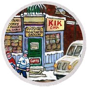 J J Joubert Vintage Milk Truck At Marvin's Grocery Montreal Memories Street Hockey Best Hockey Art Round Beach Towel