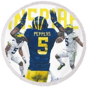 Jabrill Peppers Round Beach Towel